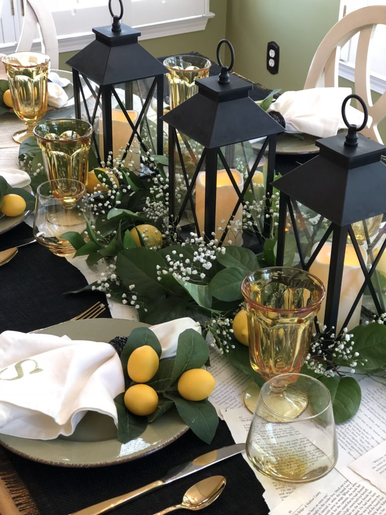 Lemon Tablescape For Book Club
